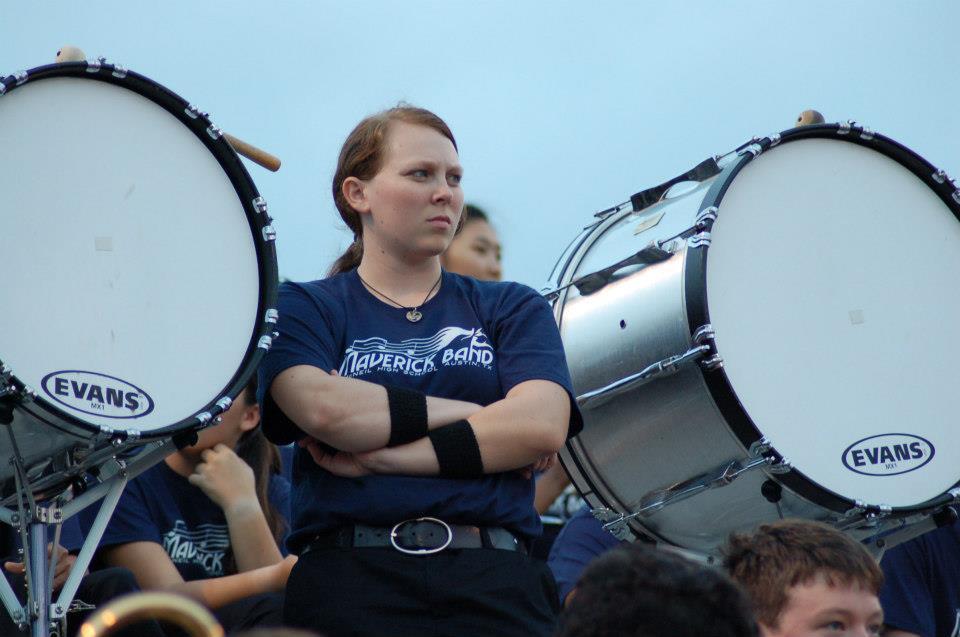 Senior Lauren Schultz is the only girl on drumline.