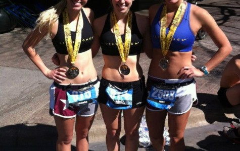 Amelia Carine, Abby Carine and Nicolette Morgan Lee ran in the 2013 Austin Livestrong marathon on Feb. 17. Marathons are just one of many activities Carine participates in.