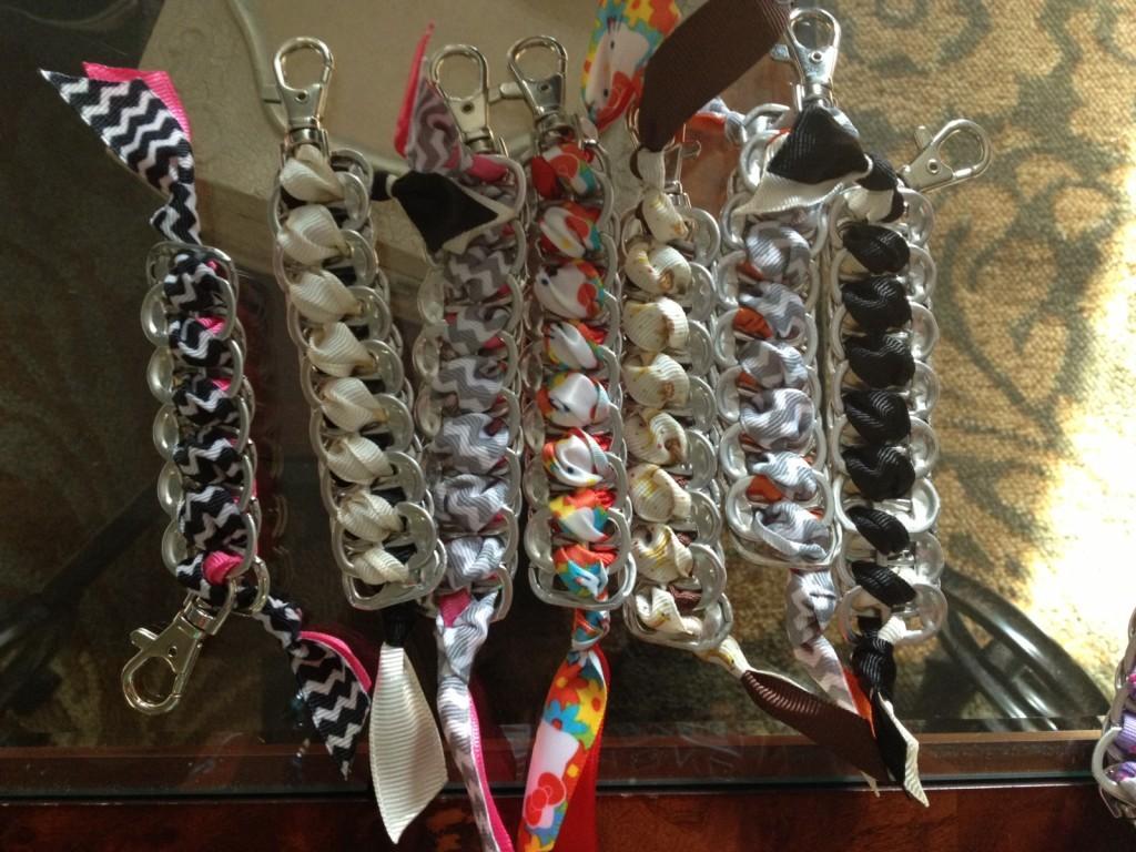 Senior Ciara Speranza makes keychains from recycled soda pop-tops.