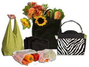 There is a varied selection of reusable bags to use when shopping.