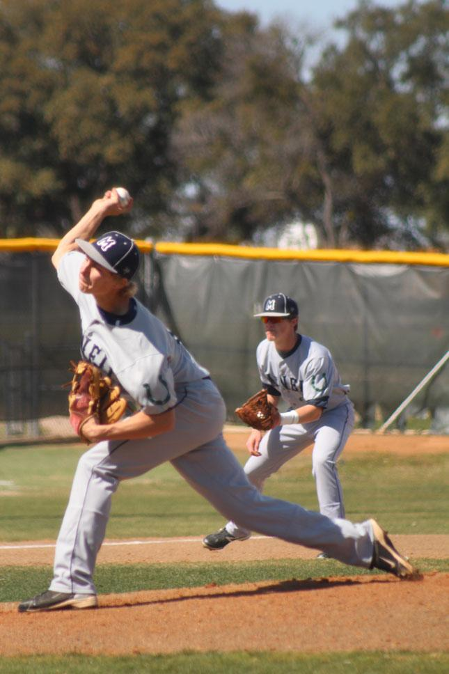 Junior Clayton Haag pitches against Hyde Park during the Langerhans Invitational. The Mavs won 10-0.