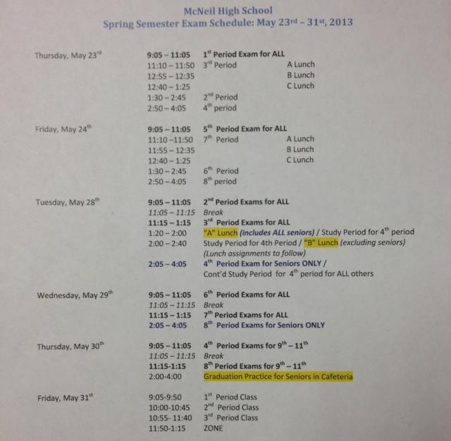 The finalized exam schedule is now available to students.