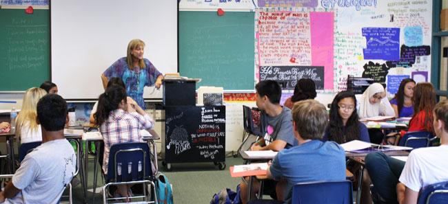 Mrs. Hengst teaching her 3rd Period, Pre-AP English II class.