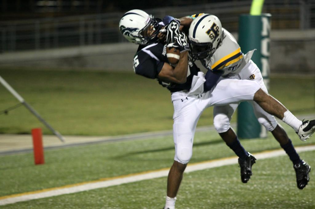 Jaehlin Wilder makes a leaping touchdown catch, fighting off a Stony Point defender.