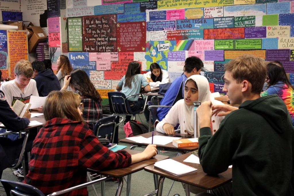 Students of Mrs. Hengst's 3rd Period, Pre-AP English II class discussing A Doll's House to each other in mini-socratic seminar circles.