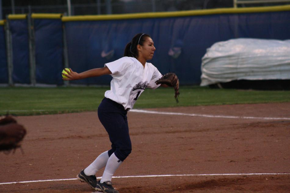 Varsity Player Victoria Perez (10) pitching at a game against Westlake