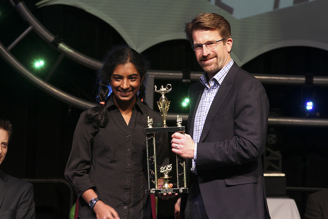 At the Austin Energy Science Fair, freshman Nisha Kolagotla earns the first place award in the Physics and Astronomy category.