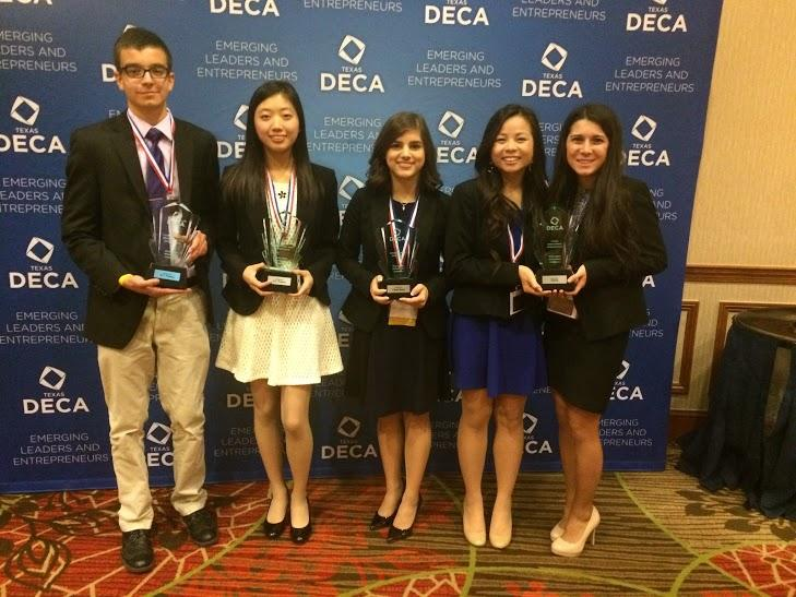 Ricardo Rivadeneira, Anna Qi, Natalia Colom, Joanne Nguyen and Megan Lutz (Left to Right) proudly pose with their trophies after the awards ceremony.
