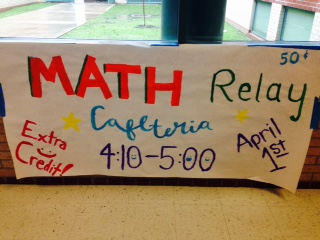 Mu Alpha Thetas Math Relay will take place on April 1st.