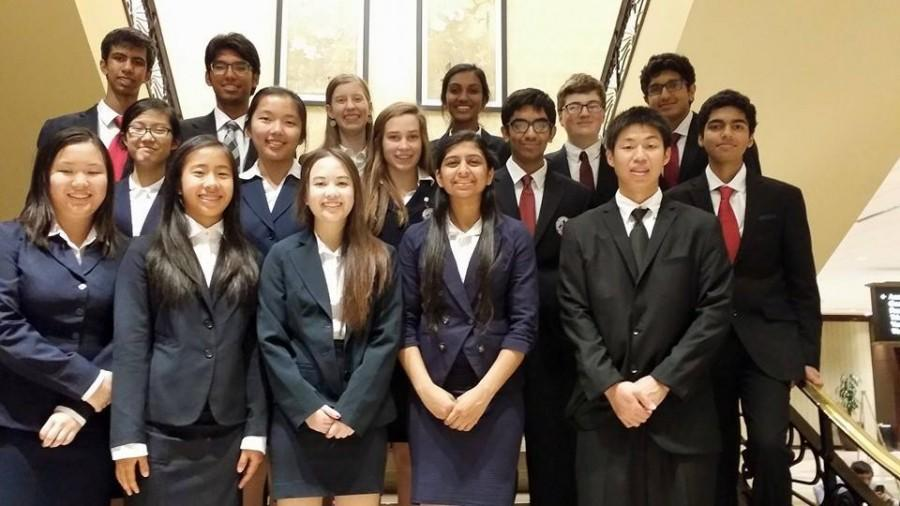 McNeil HOSA takes a group photo in formal attire before opening ceremony at the State Conference