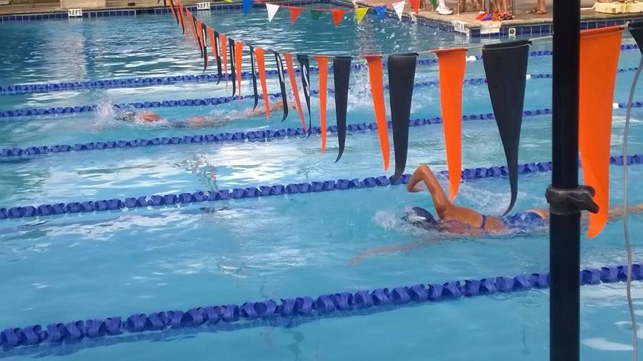 It was during the first swim meet on September 19. Freshman Yeraldin Ruiz participates in an relay with another Maverick behind her, sophomore Shatoria McMillan.