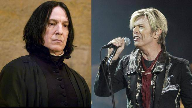 On the left of the image is actor Alan Rickman and on the right is rock singer David Bowie