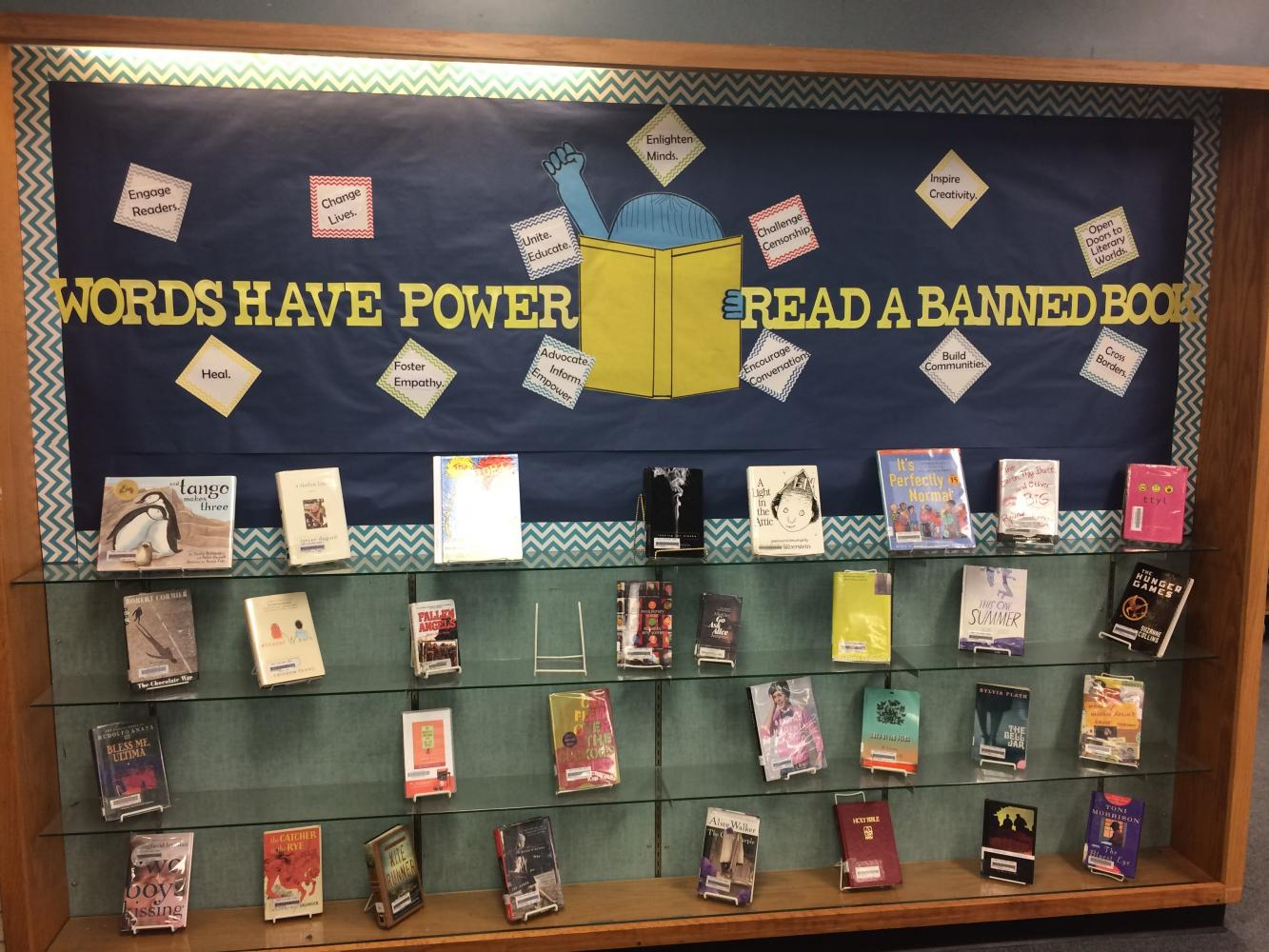 Banned books week library display