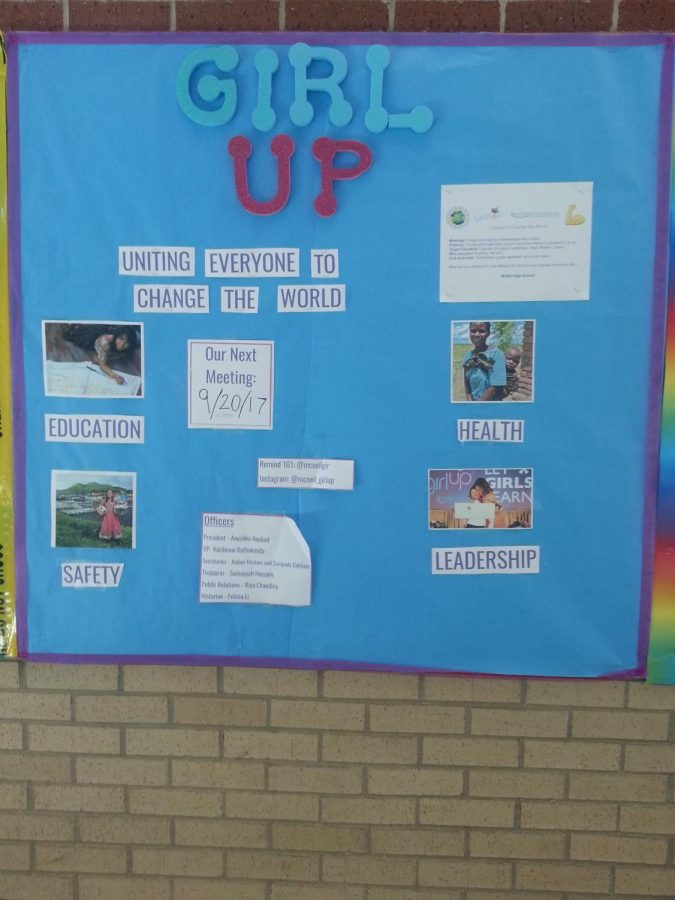 This picture is the poster of the Girl Up club in the main hallway. The Girl Up club is the one of the new club formed this year. Hoping everyone to be interested in the Girl Up club! Be a hero!