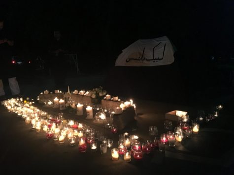 The vigil display was full of candles placed by the children at the end of the program.