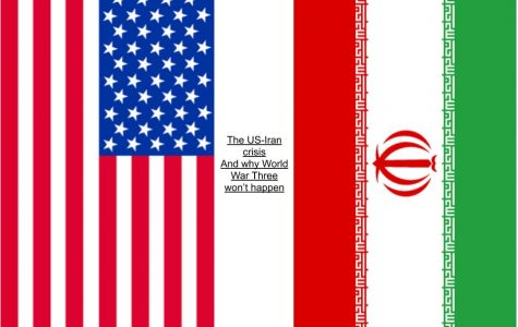 Cutouts of the U.S flag and the Iran flag with the title of the story. Flag cutouts from google images.