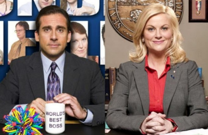 "Michael Scott (Steve Carell) representing ""The Office"" and Leslie Knope (Amy Poehler) representing ""Parks and Recreation."""