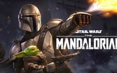 The‌ ‌Mandalorian‌ ‌(Pedro‌ ‌Pascal)‌ ‌and‌ ‌the‌ ‌Child‌ ‌graphic.‌