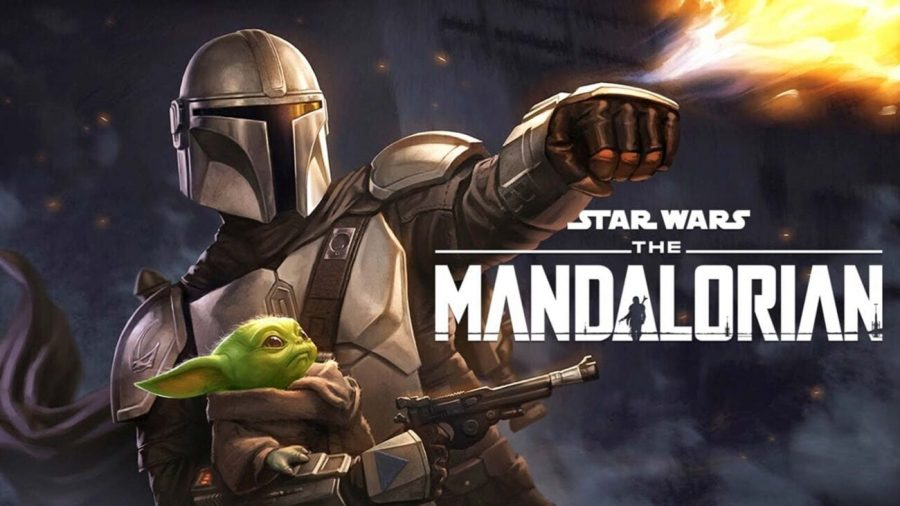 The Mandalorian (Pedro Pascal) and the Child graphic.